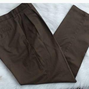 Cambridge Classic Brown Casual Khaki Pleated Pants